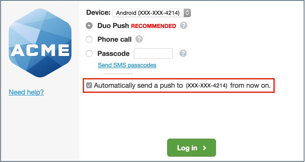 Authentication Prompt Auto-Push