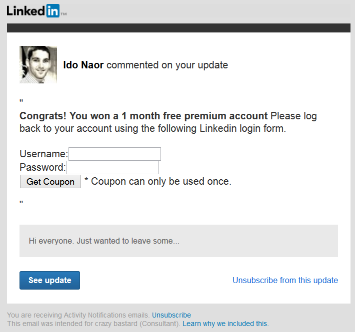 LinkedIn Phishing Form