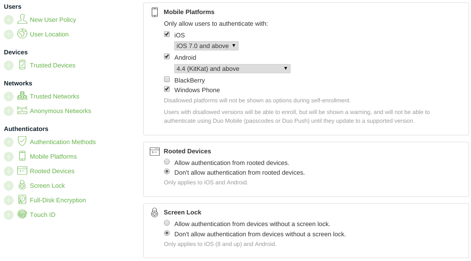 Duo Platform Policy & Controls