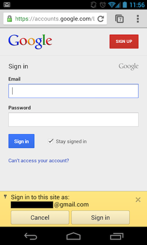 google chrome email sign in