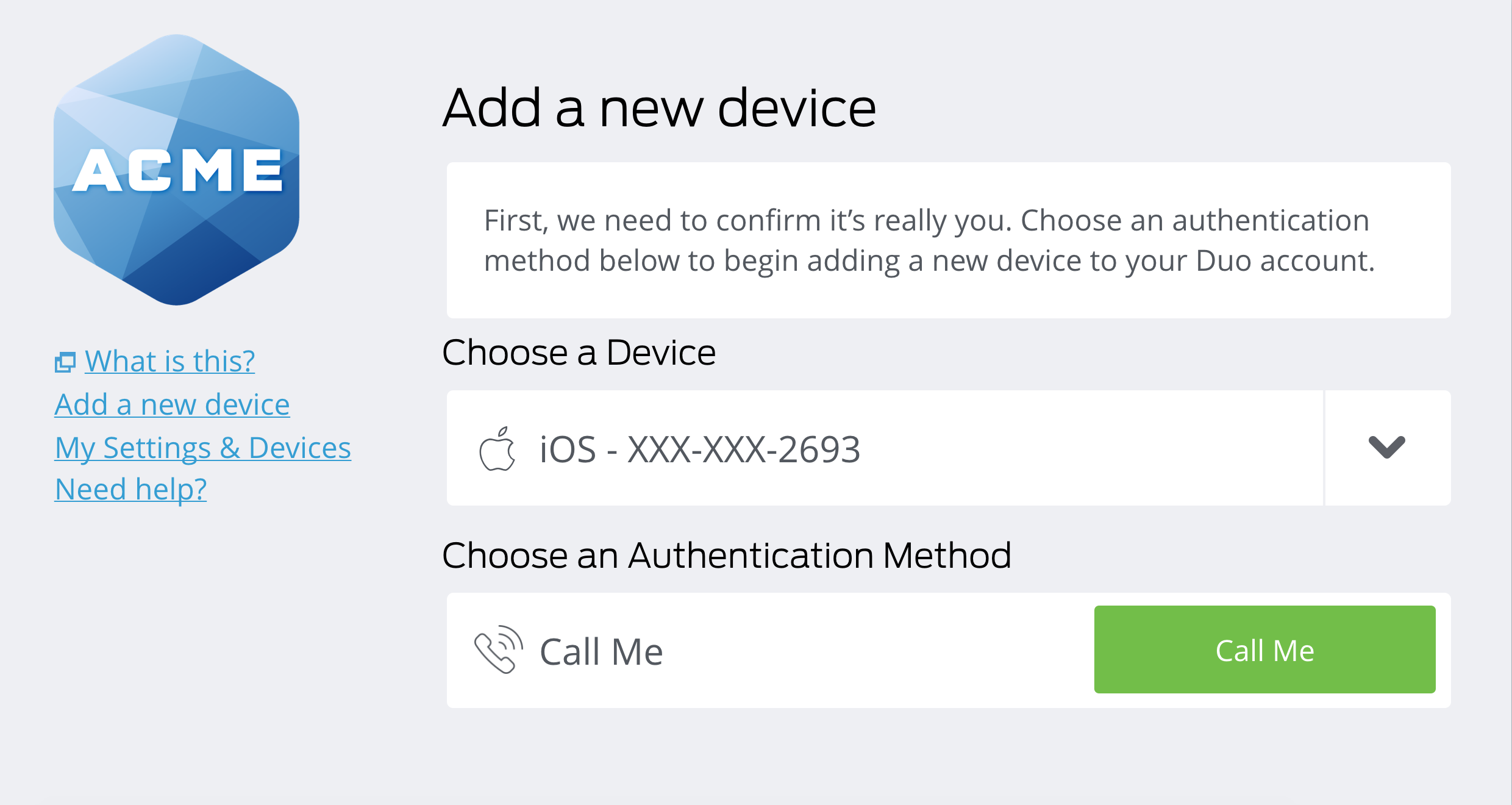 Authentication Prompt Lost Device