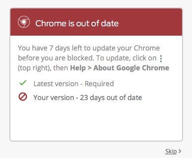 Chrome is Out of Date