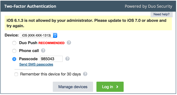 Duo Inline Authentication - Attempting to authenticate with a device running iOS 6 when iOS 7 is required