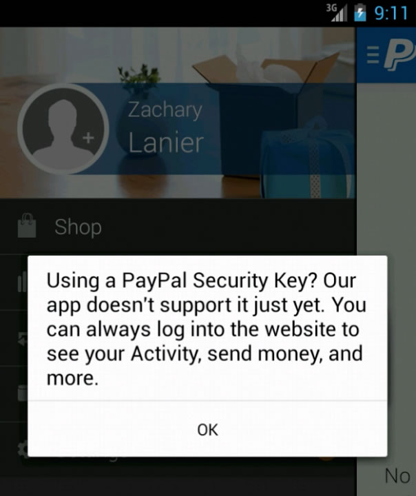 2FA Mobile Error Message Paypal