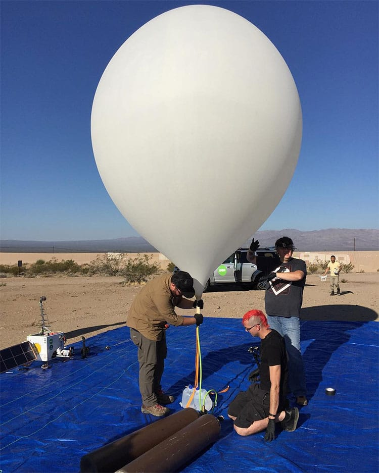 Filling the weather balloon