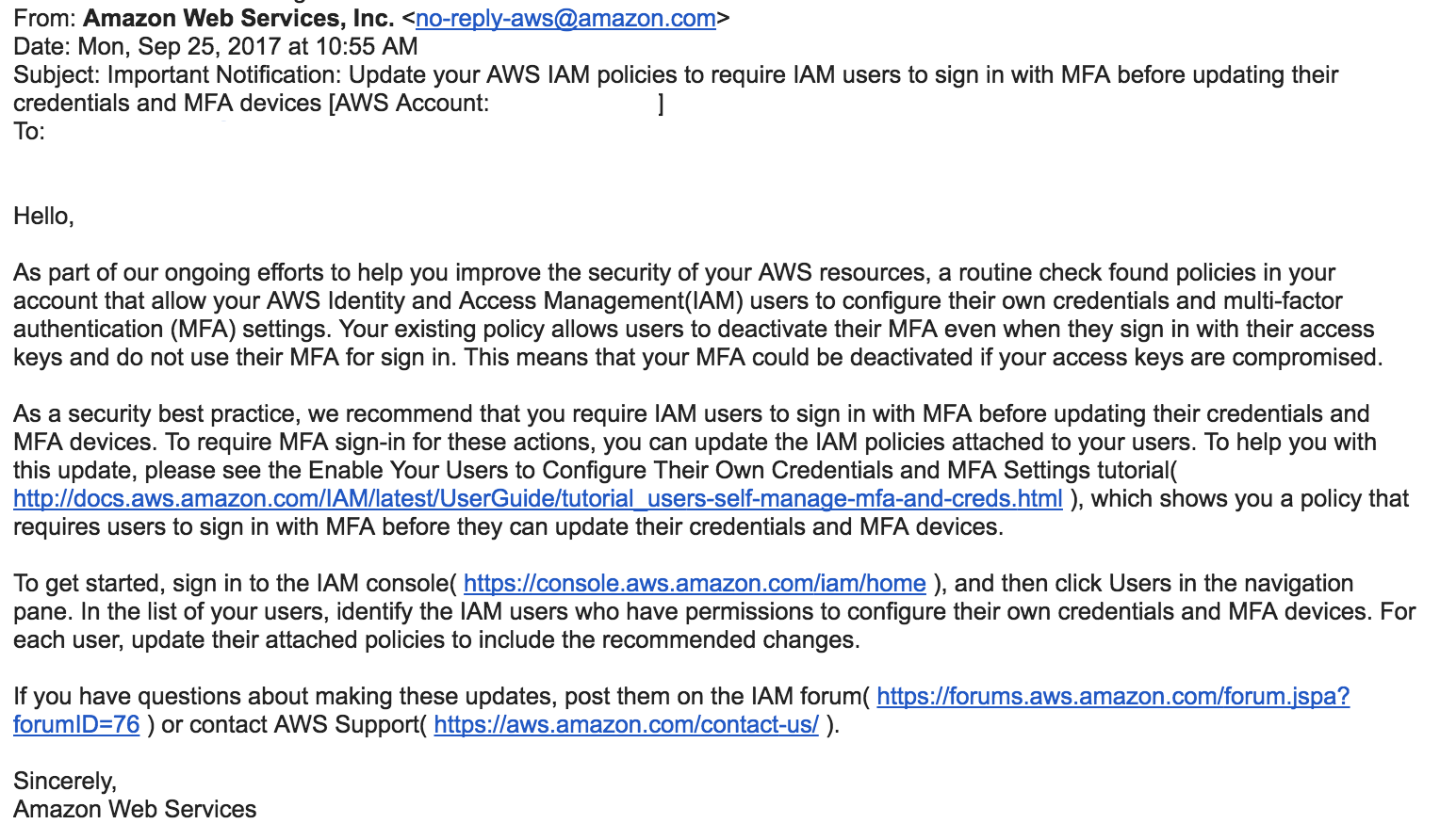 AWS IAM and MFA Policy Update Email