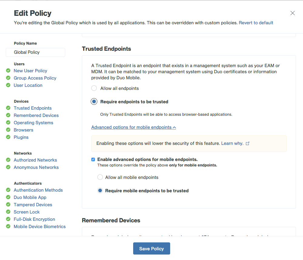 Sophos Mobile Integration Edit Policy