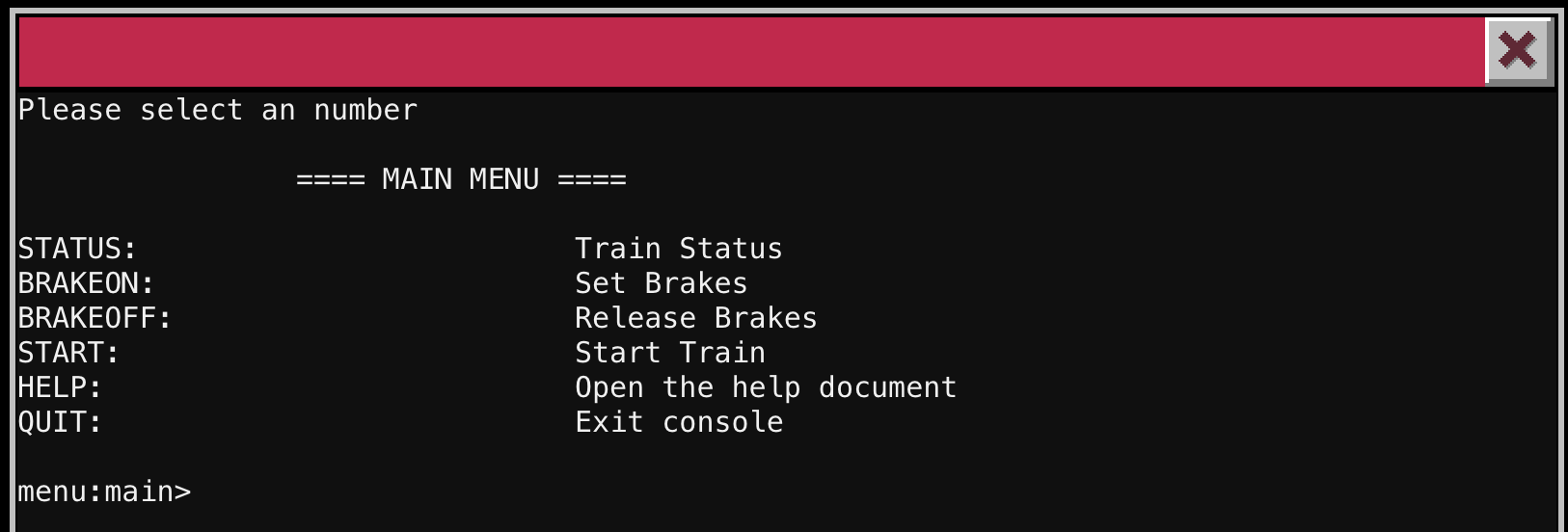 Train Management Interface