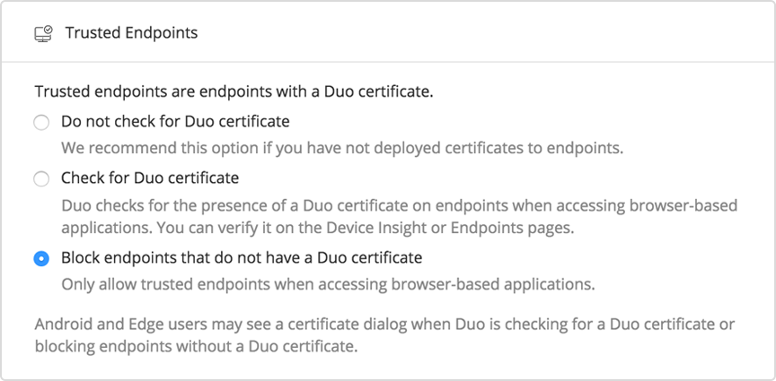 Trusted Endpoints by Duo Security
