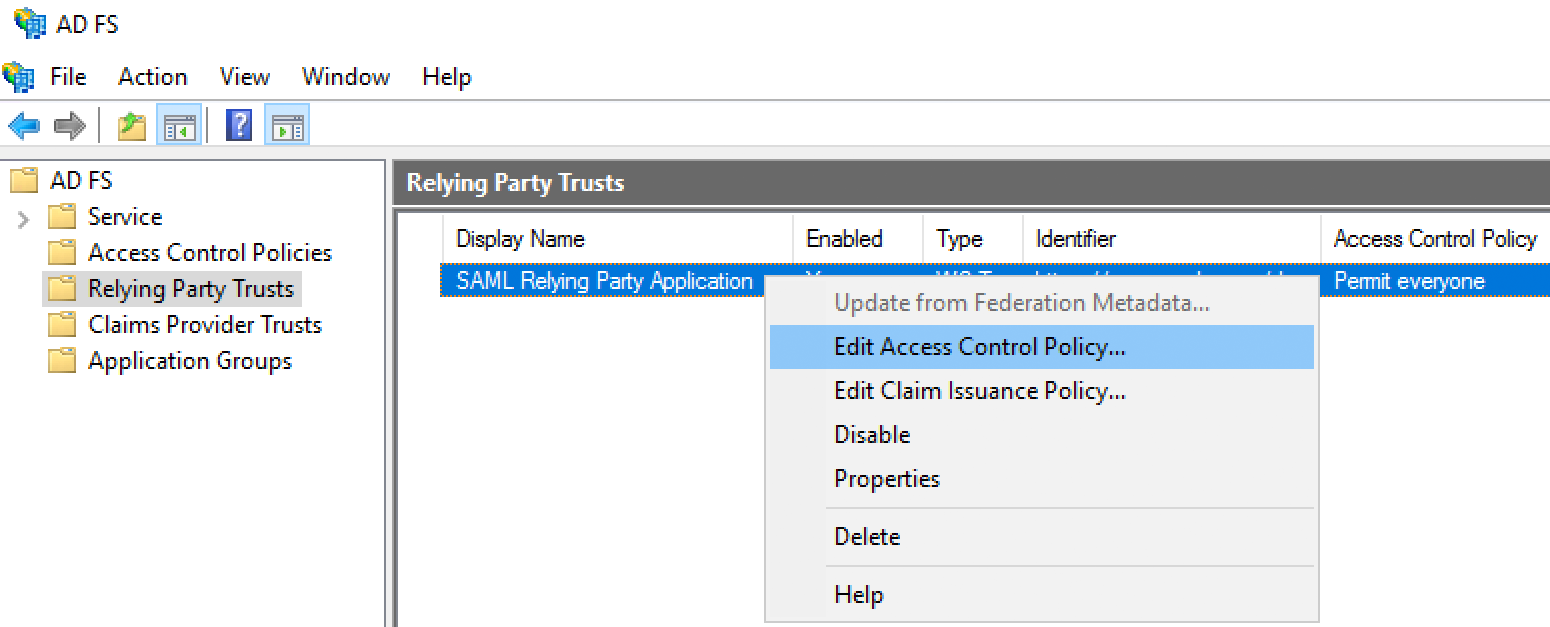 Edit Relying Party Access Control Policy