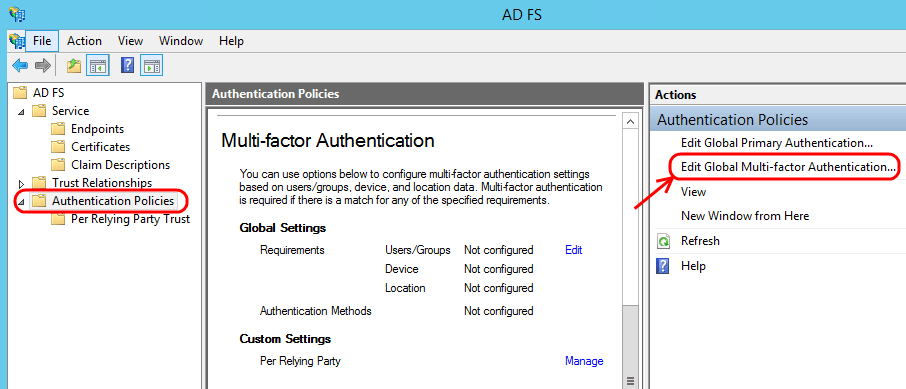 AD FS Management Console