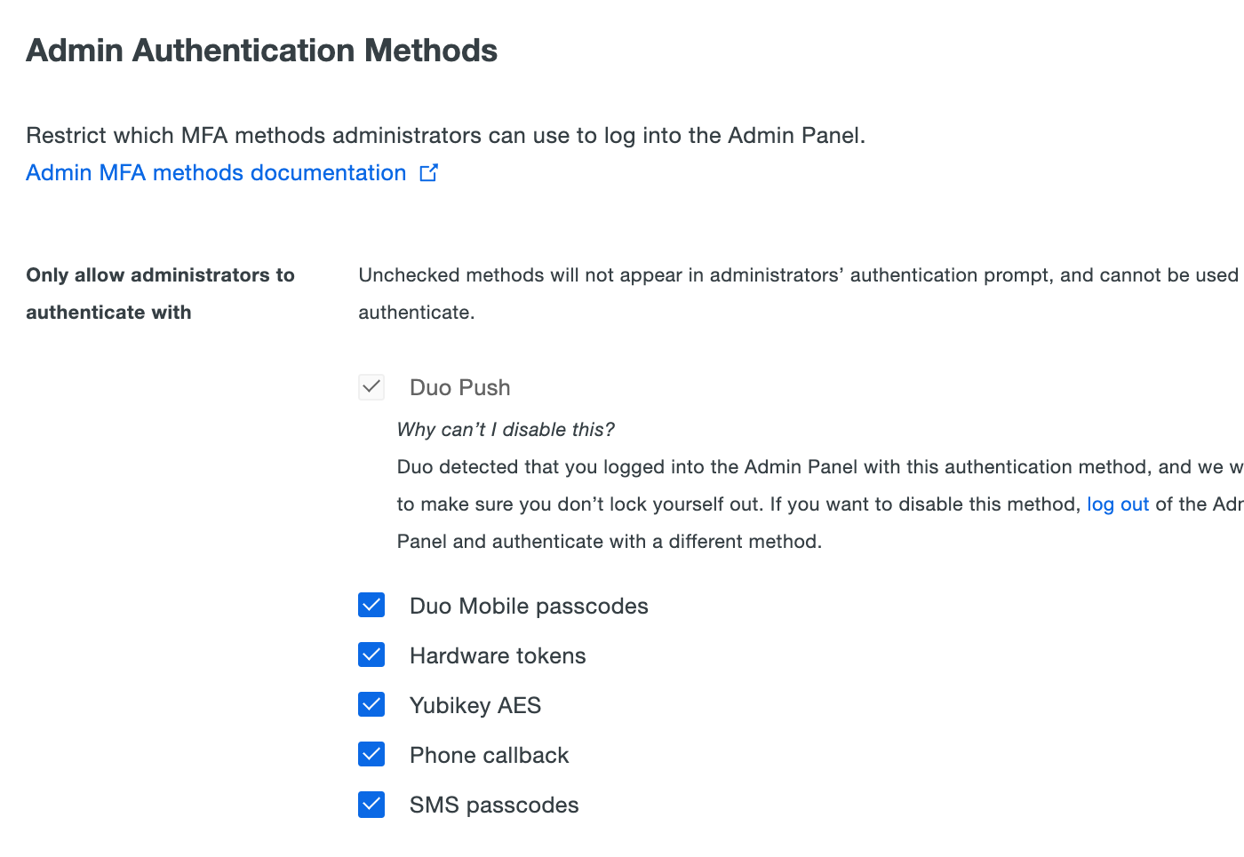 Restrict Admin Authentication Methods