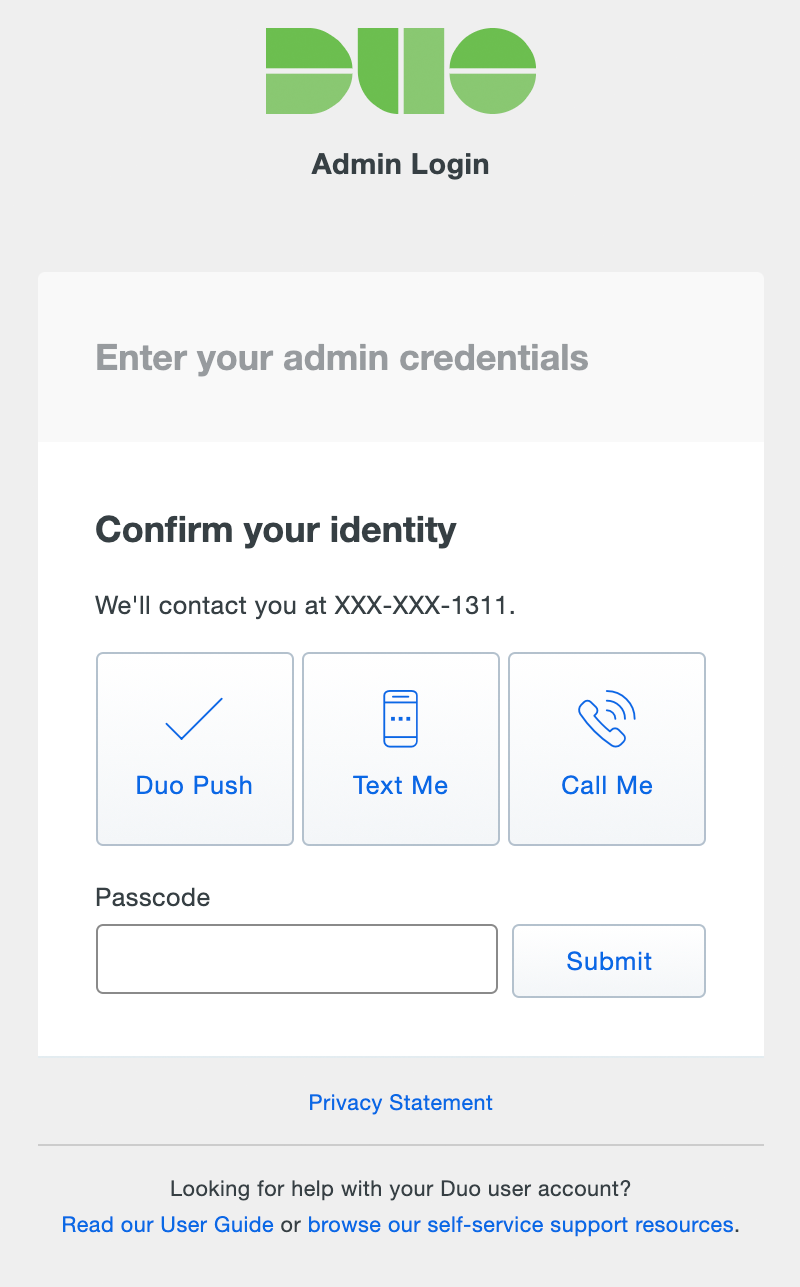 Admin User Login: Complete 2FA