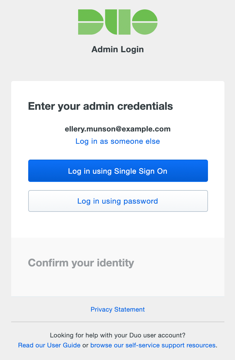 Admin User Login: Select Credential