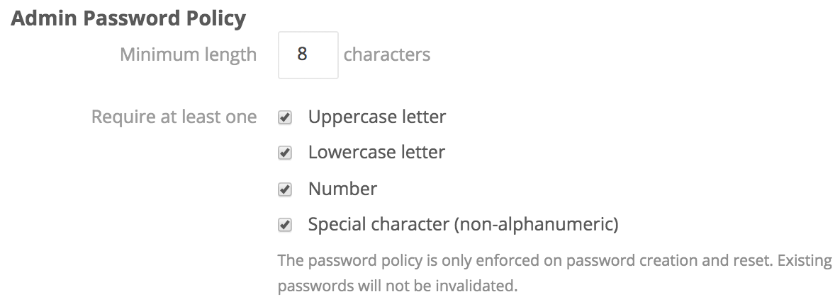 Admin Password Policy Setting