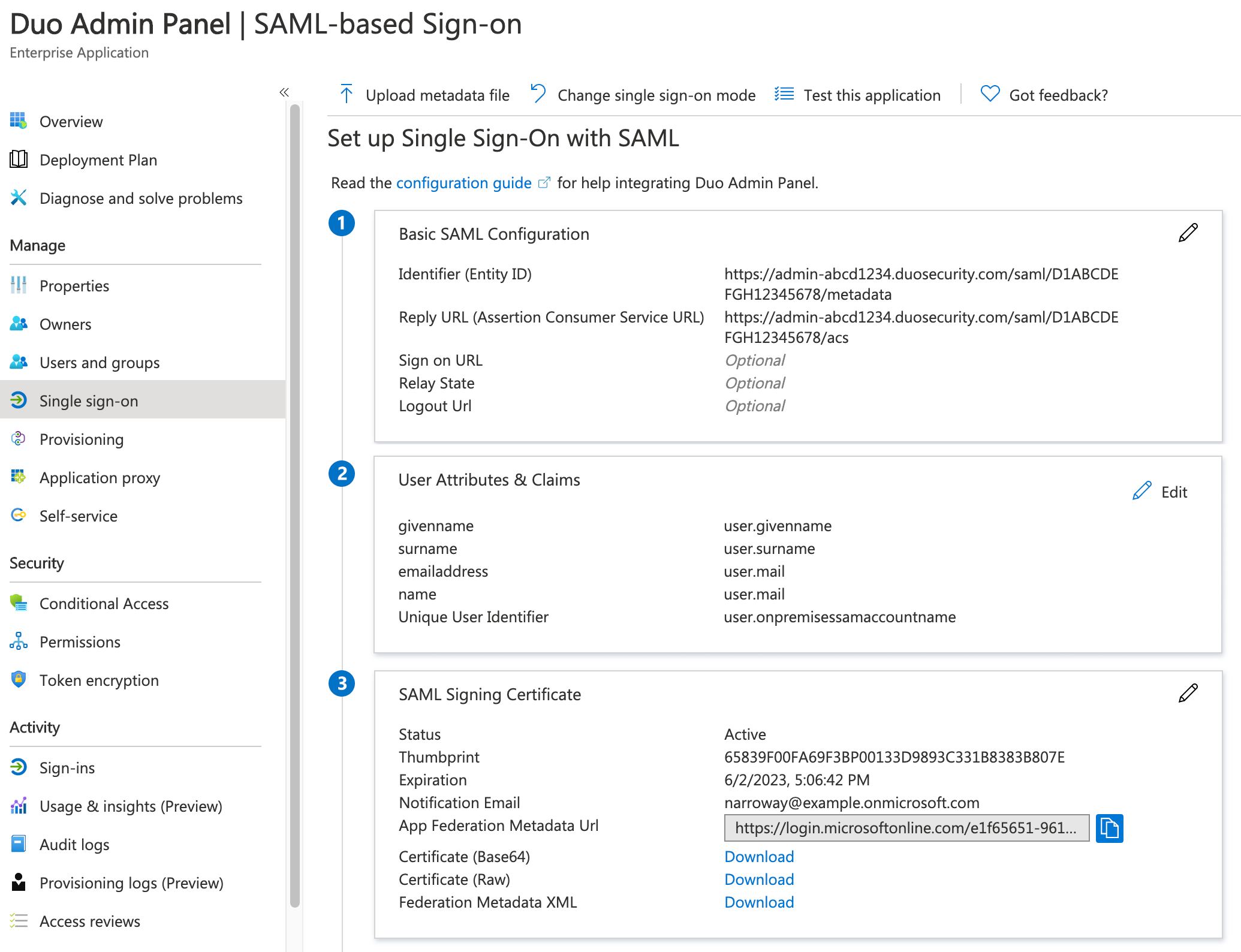 Duo Admin Panel Azure App SSO Information