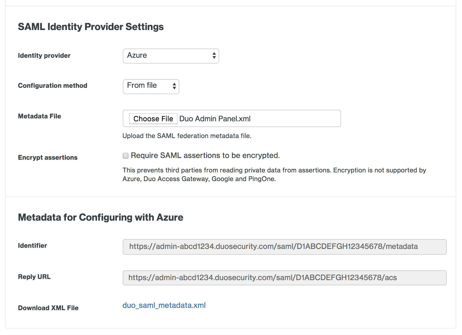 Duo Admin Panel Azure SAML Identity Provider Settings