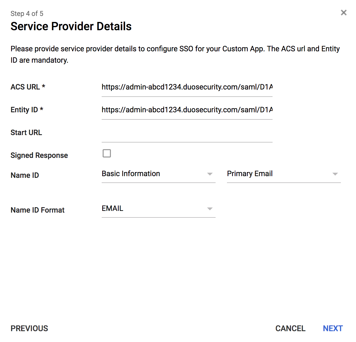 Duo Admin Panel Google App Service Provider Details