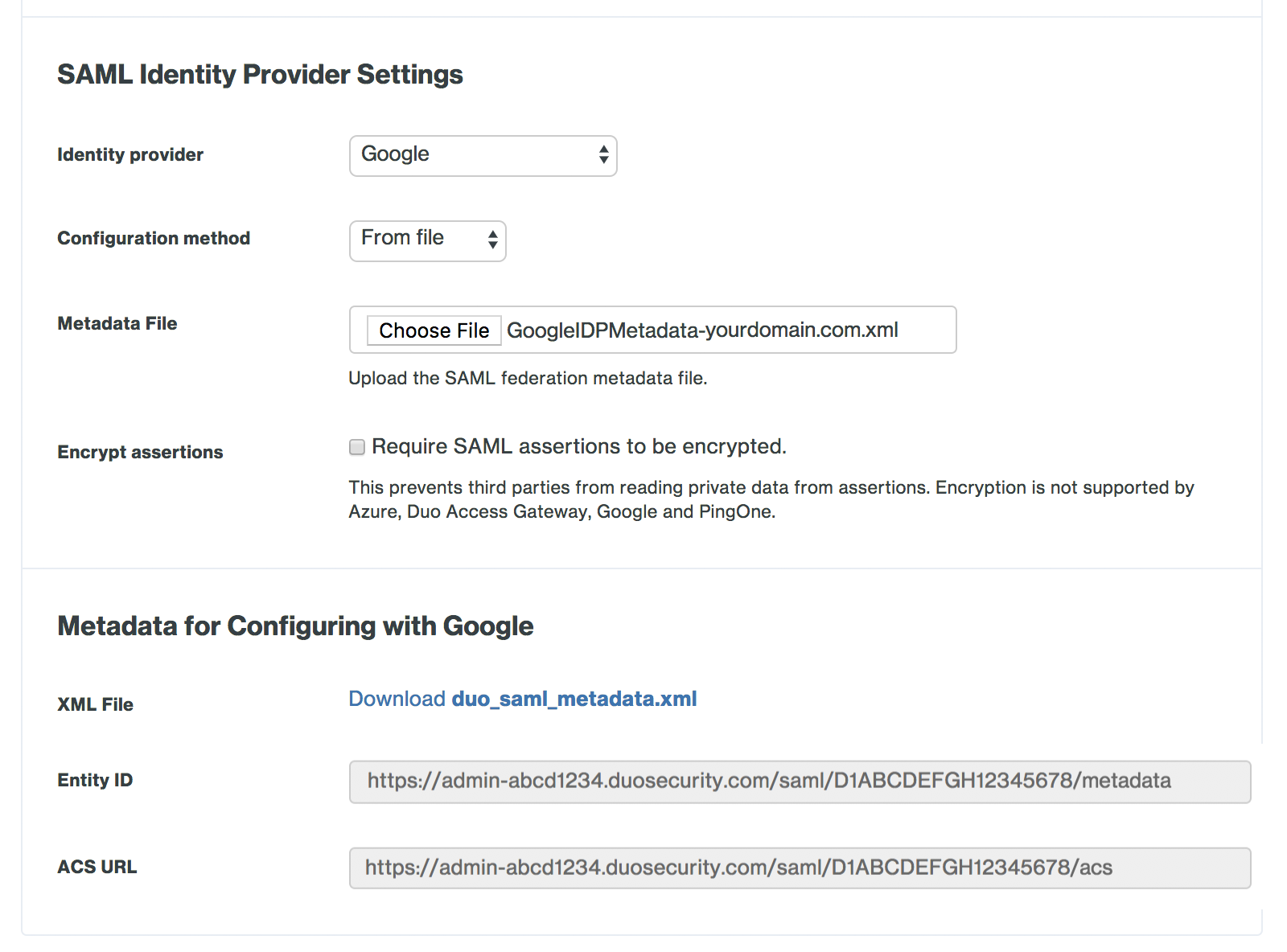 Duo Admin Panel Google SAML Identity Provider Settings