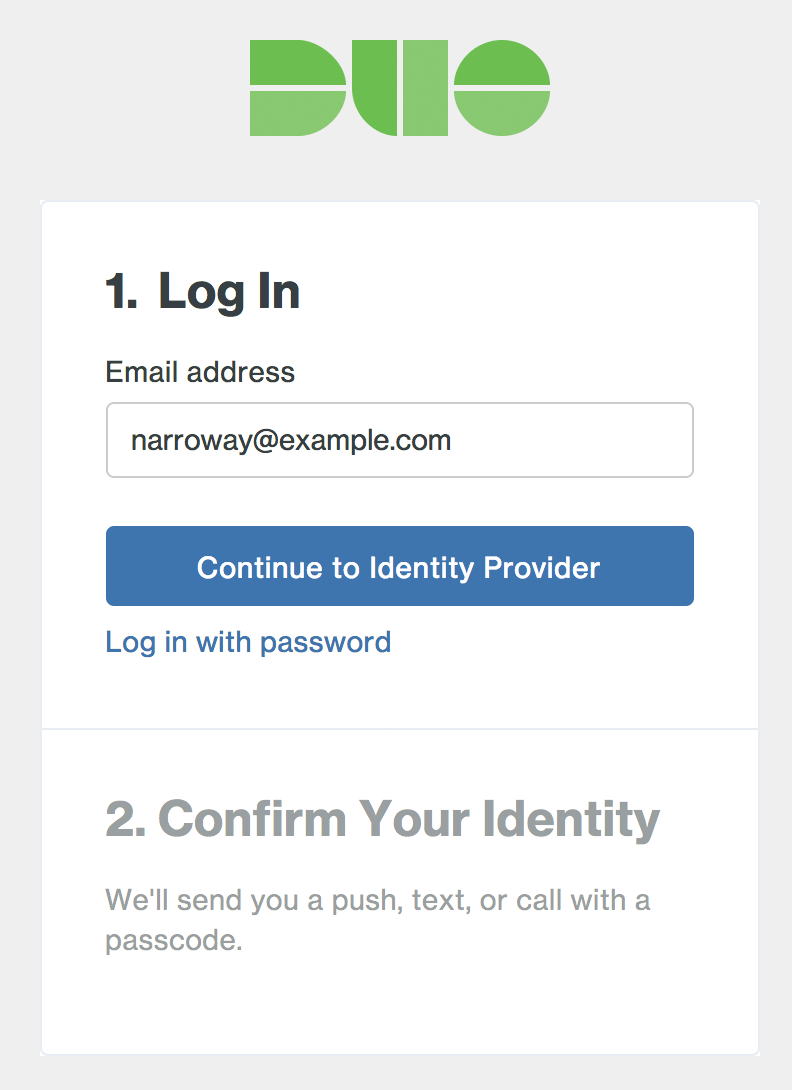 Duo Admin Panel SSO Login Page