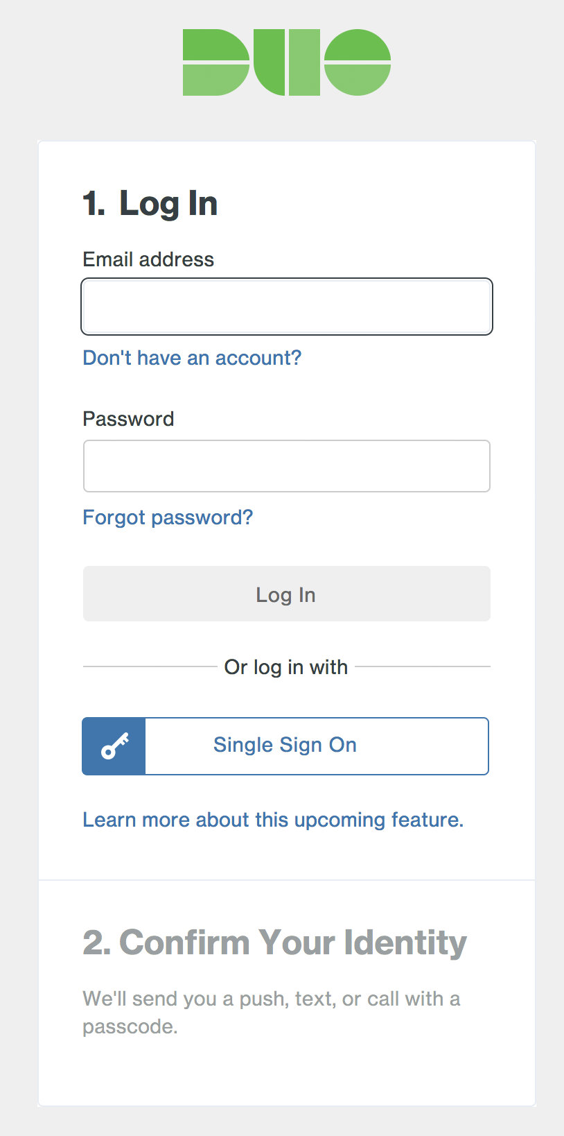 Duo Admin Panel Login with SSO Option