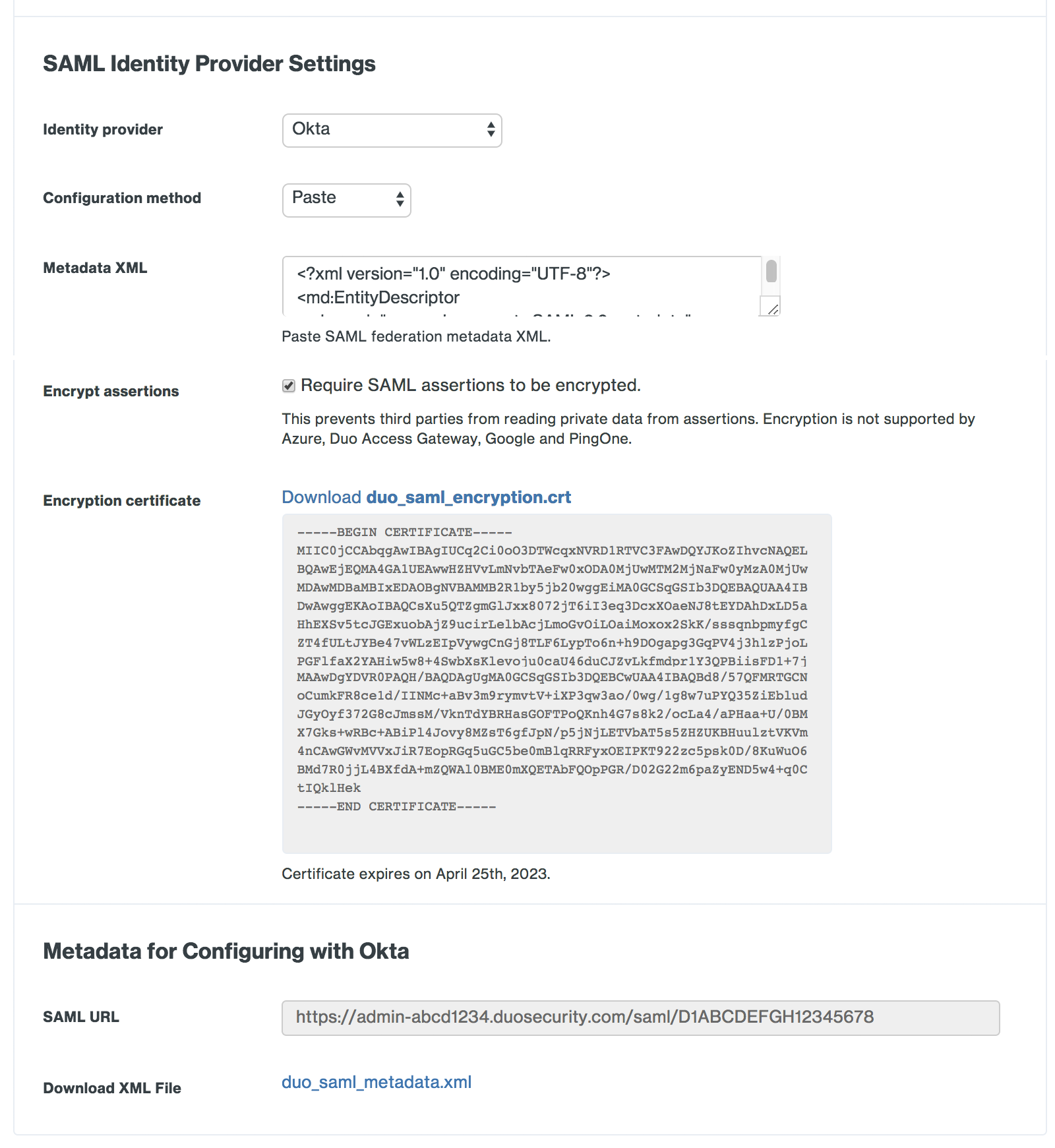 Duo Admin Panel Okta SAML Identity Provider Settings