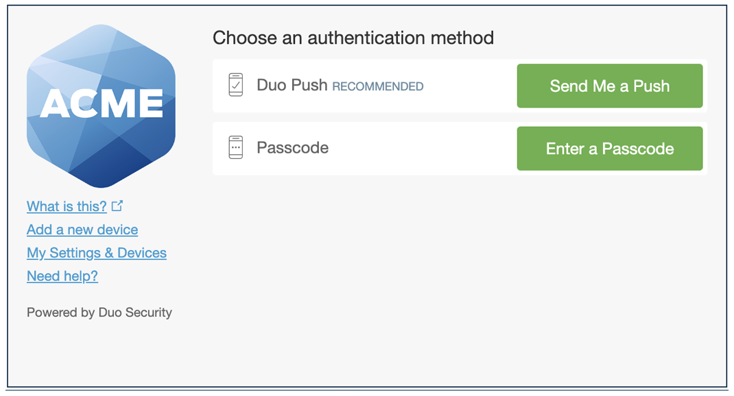Authentication prompt without phone call option