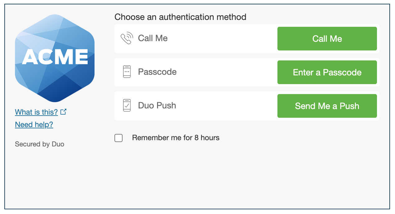 Authentication prompt with Duo branding
