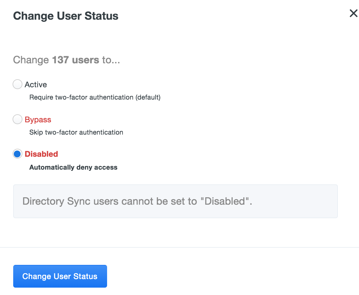 Change User Status Confirmation