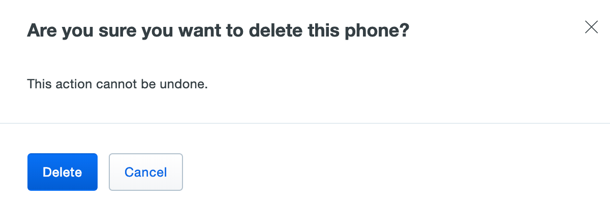 Confirm phone deletion