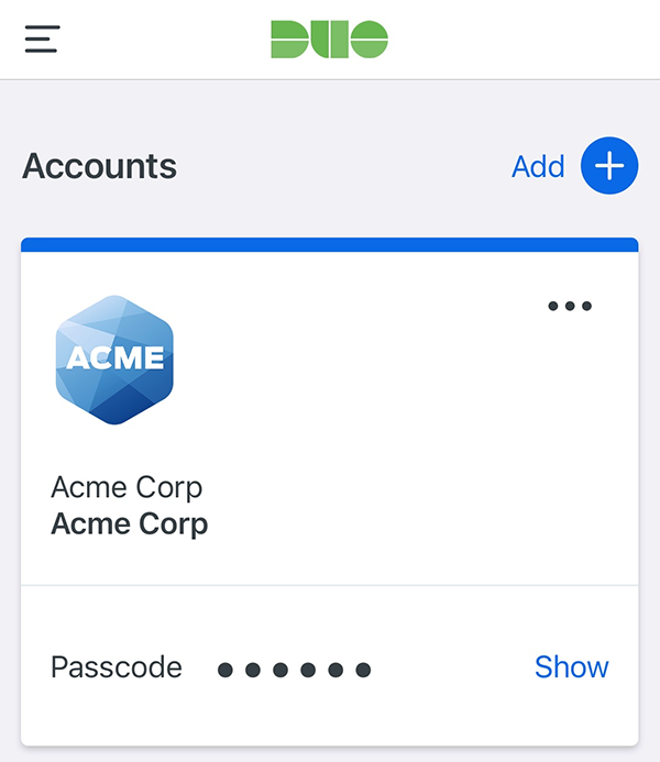 Duo Mobile Accounts Screen
