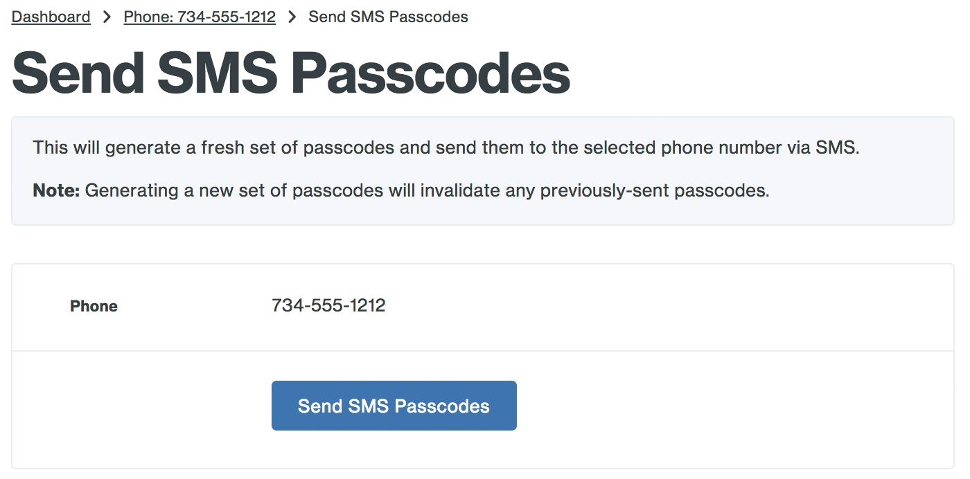 Send the SMS Passcodes