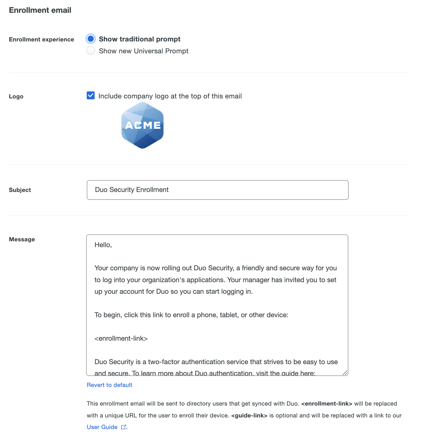 Enrollment email settings