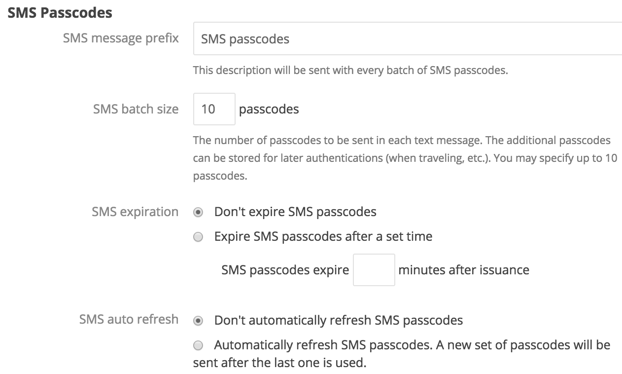 SMS passcodes settings