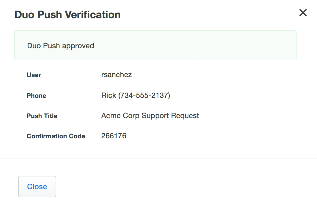User Approved Verification Push