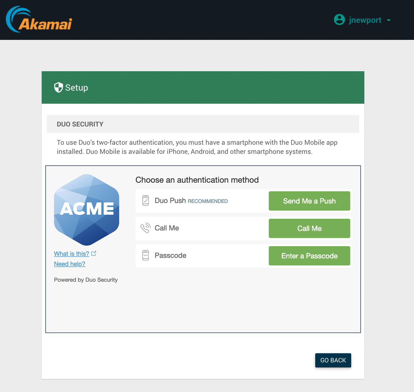Akamai EAA User Setup Prompt