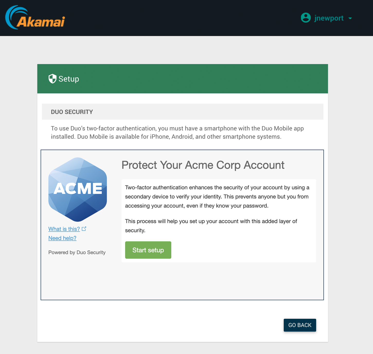 Akamai EAA User Duo Enrollment