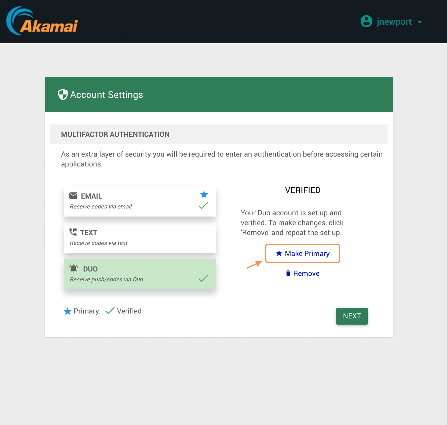 Akamai EAA User Make Duo MFA Primary