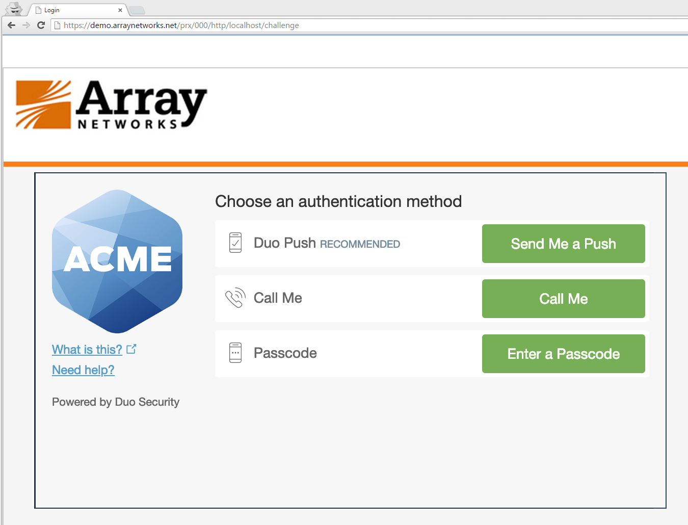 Array AG SSL VPN Authentication Prompt