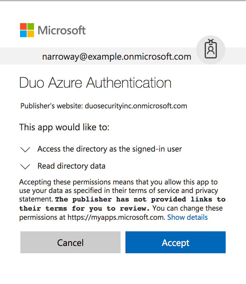 Grant Azure Permissions to the Duo Application
