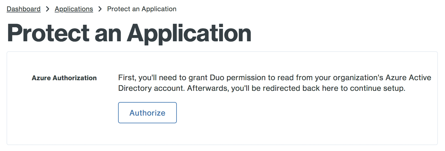 Authorize the Duo Application in Azure