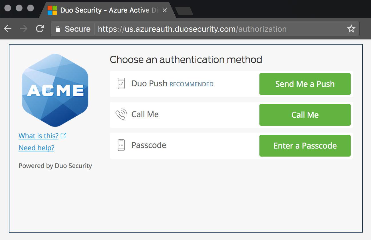 Duo Azure CA Authentication