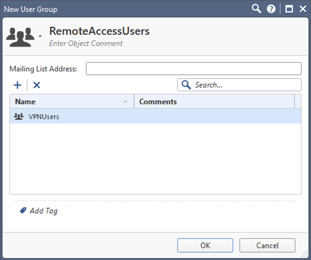 Create Remote Access User Group