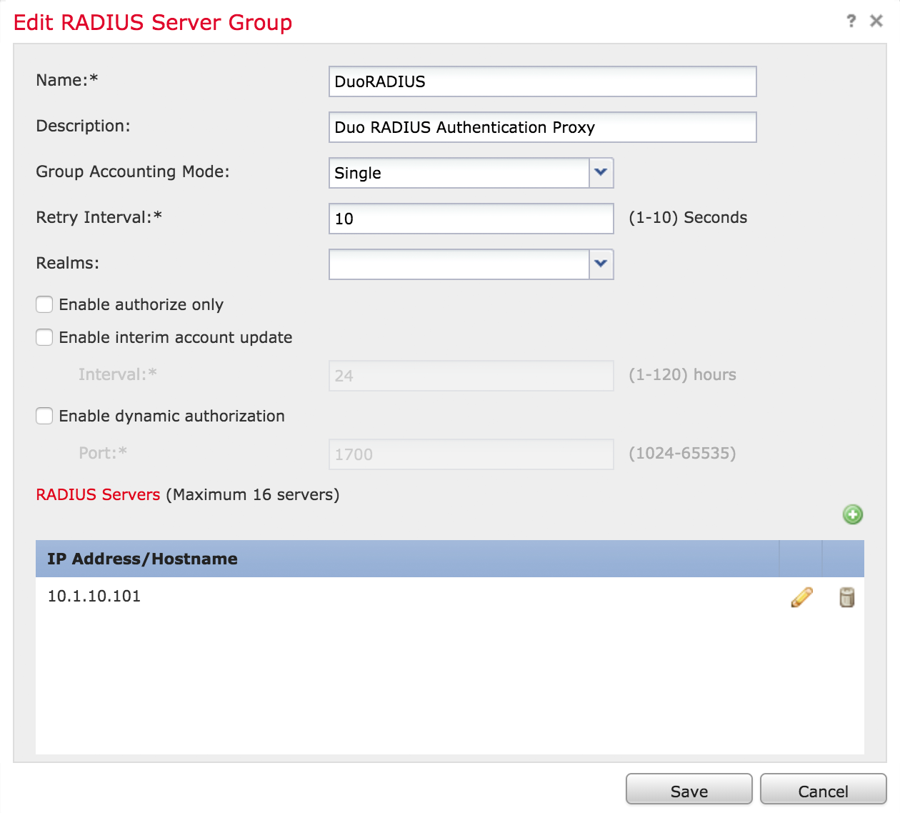 FMC Completed Add RADIUS Server Group Form