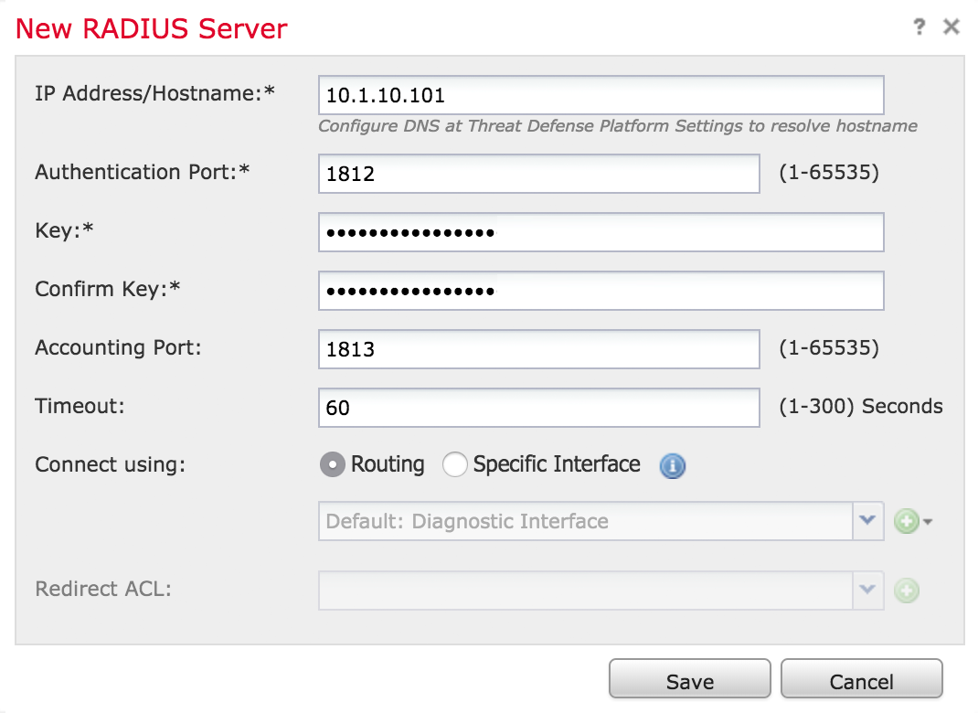 FMC Completed New RADIUS Server Form