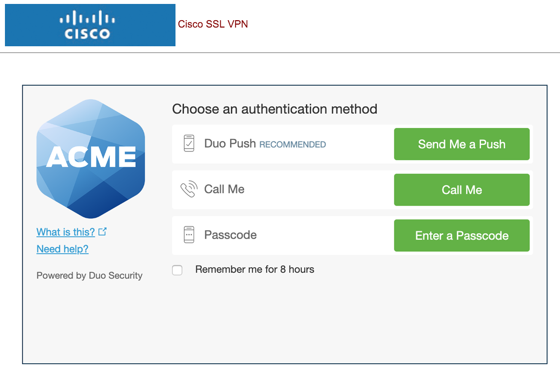 Cisco SSL VPN with Duo Authentication