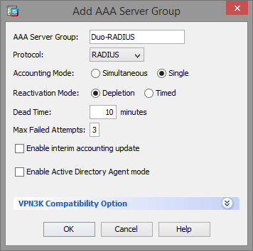 Add AAA Server Group