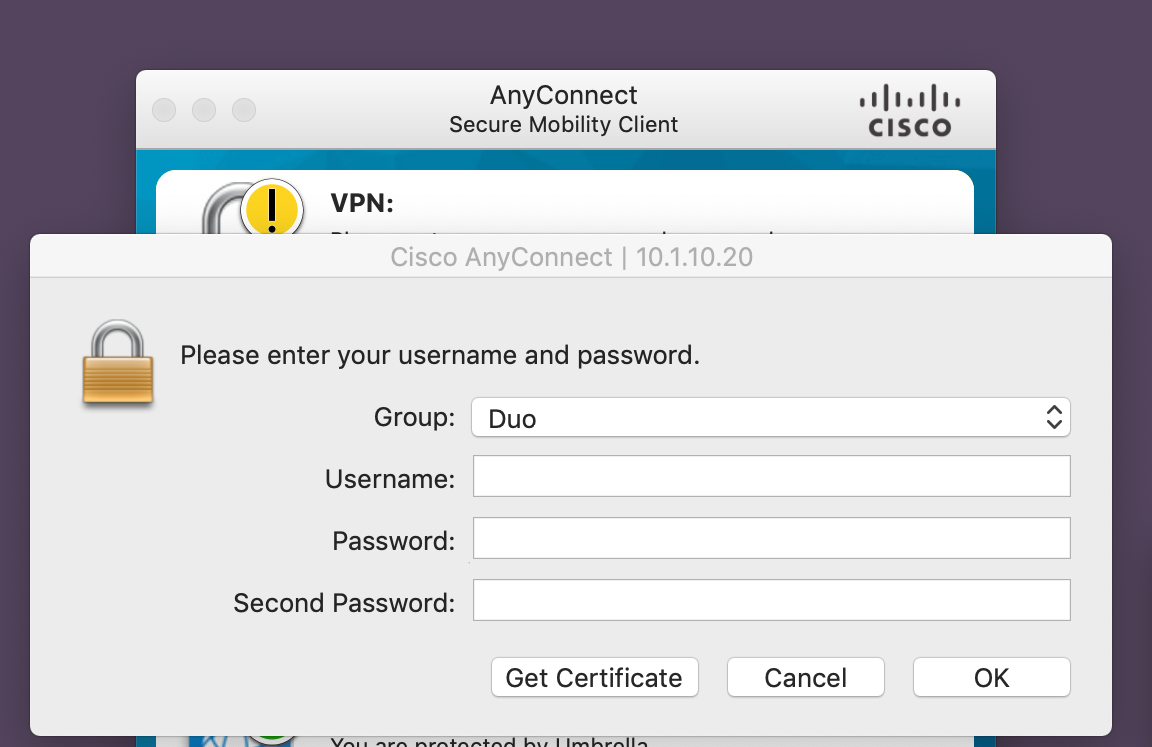 Cisco AnyConnect Client Prompt