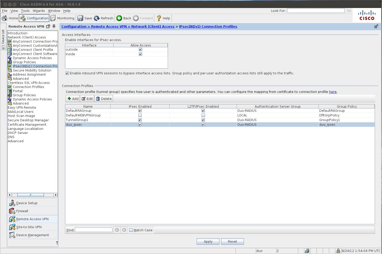 2FA using RADIUS for Cisco ASA IPsec VPNs | Duo Security