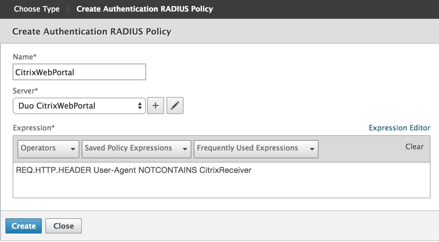 Create Web Browser Authentication Policy
